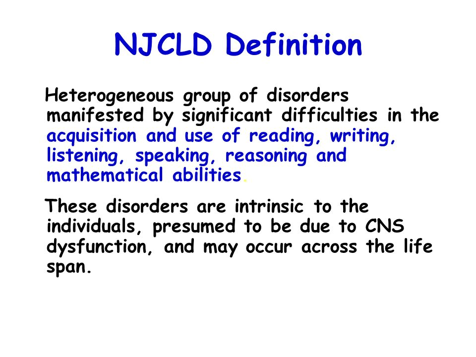 NJCLD Definition