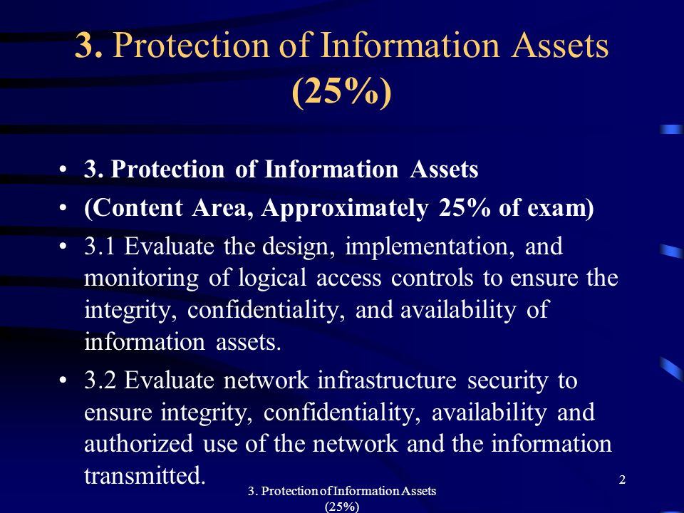 3. Protection of Information Assets (25%)