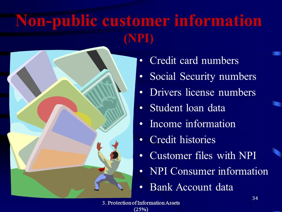 Non-public customer information (NPI)