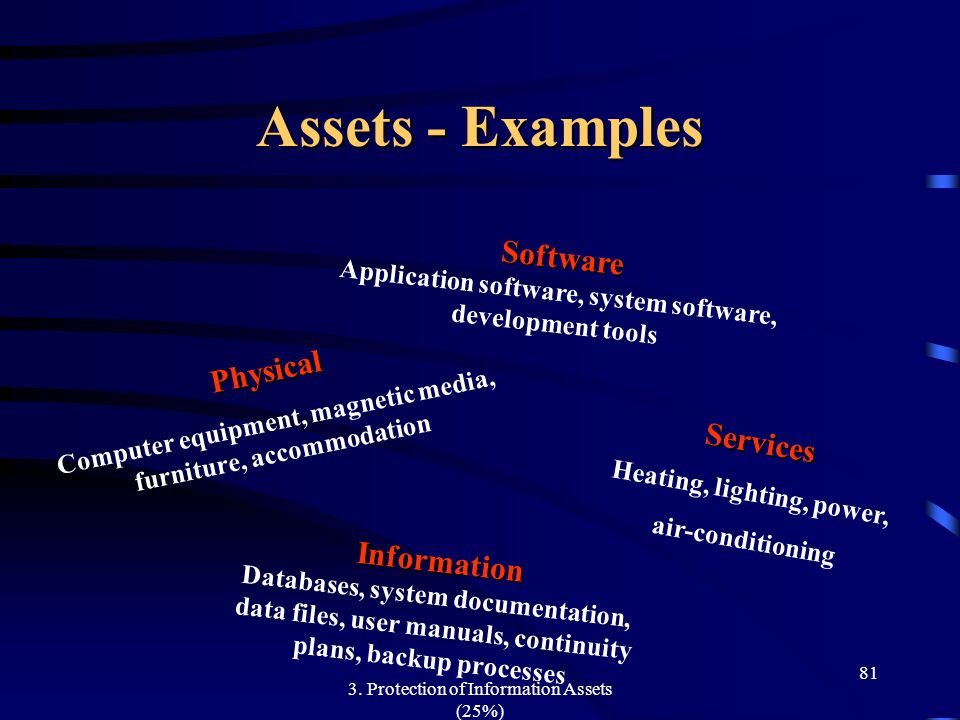 Assets - Examples Software Physical Services Information