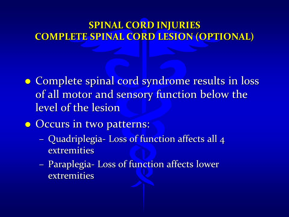 Spinal Cord Injuries Complete Spinal Cord Lesion (Optional)