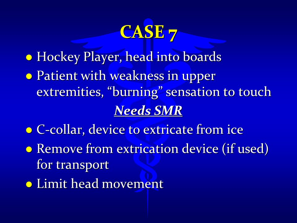 Case 7 Hockey Player, head into boards