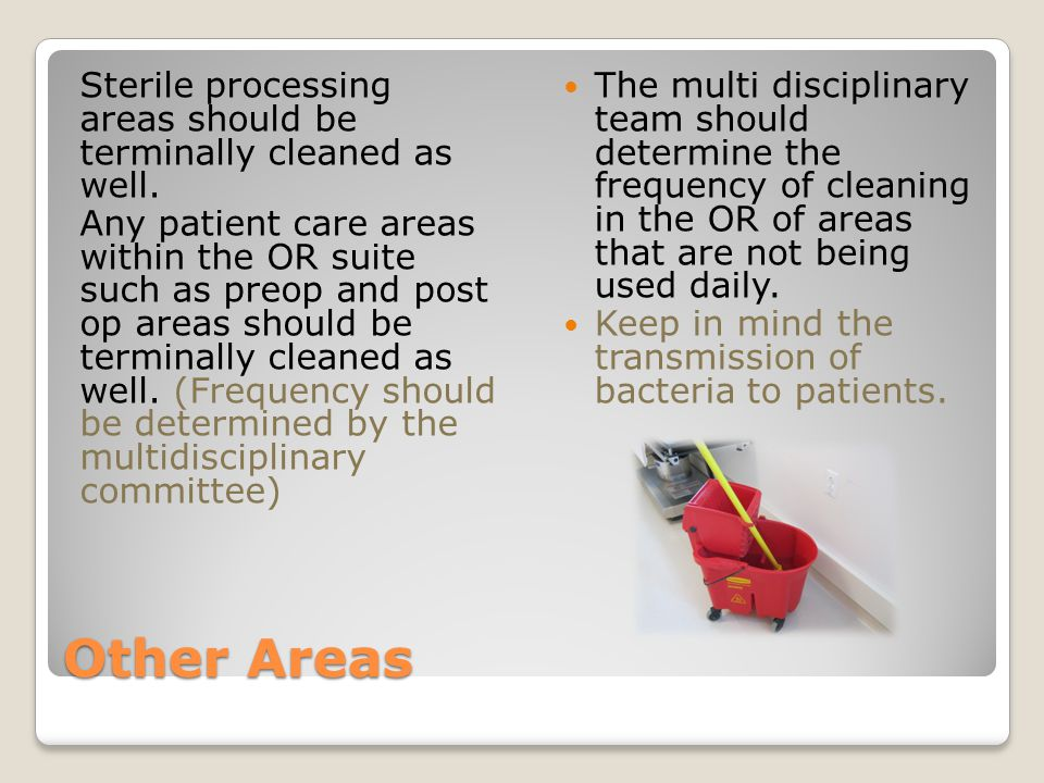 Sterile processing areas should be terminally cleaned as well