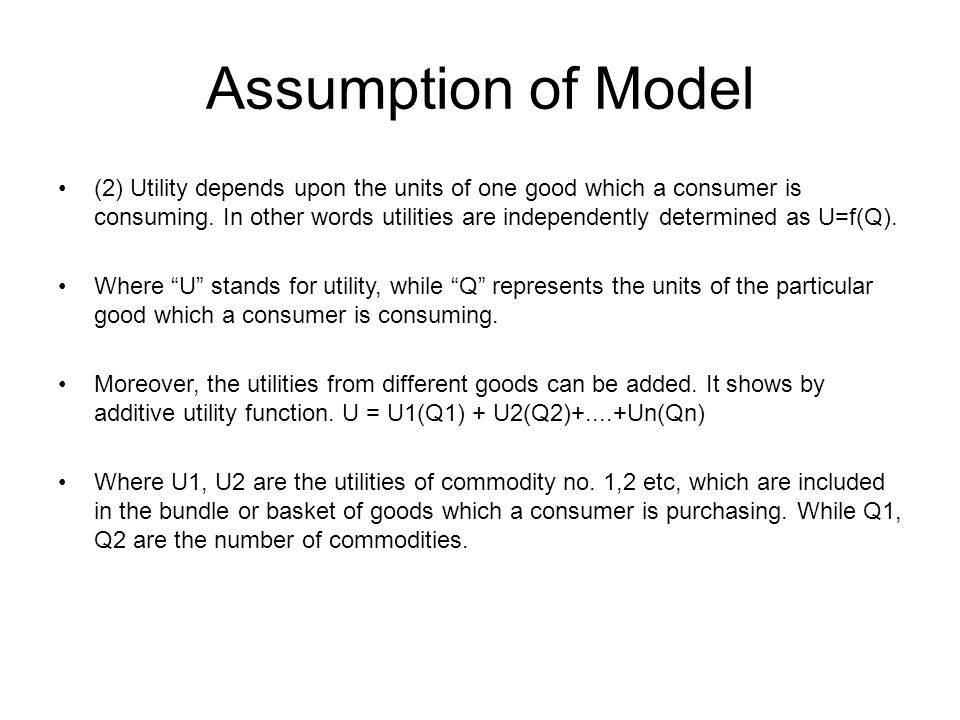 Assumption of Model