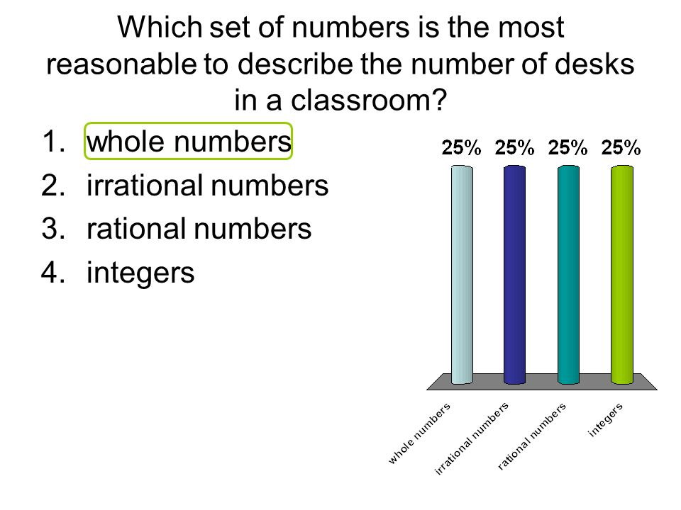 Which set of numbers is the most reasonable to describe the number of desks in a classroom