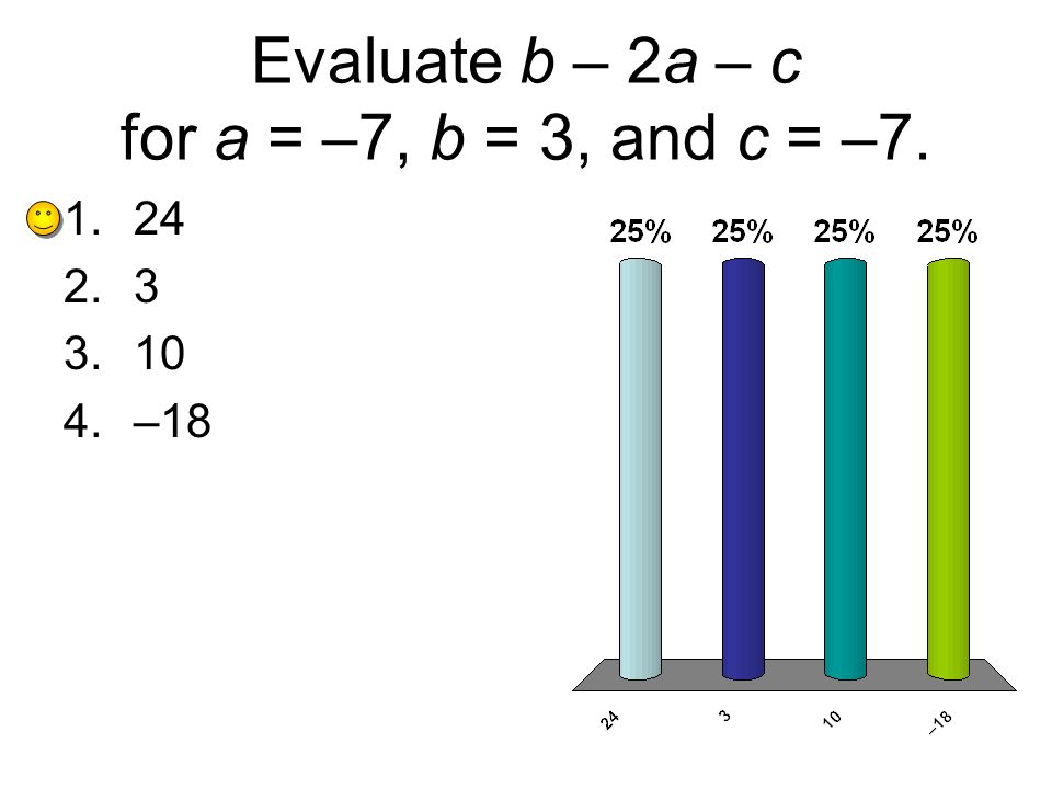 Evaluate b – 2a – c for a = –7, b = 3, and c = –7.