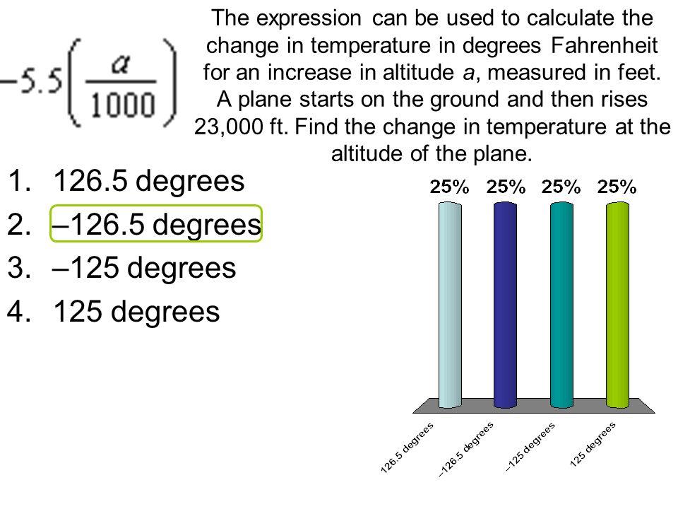 126.5 degrees –126.5 degrees –125 degrees 125 degrees