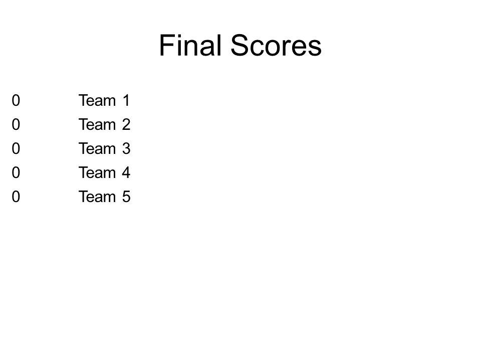 Final Scores Team 1 Team 2 Team 3 Team 4 Team 5