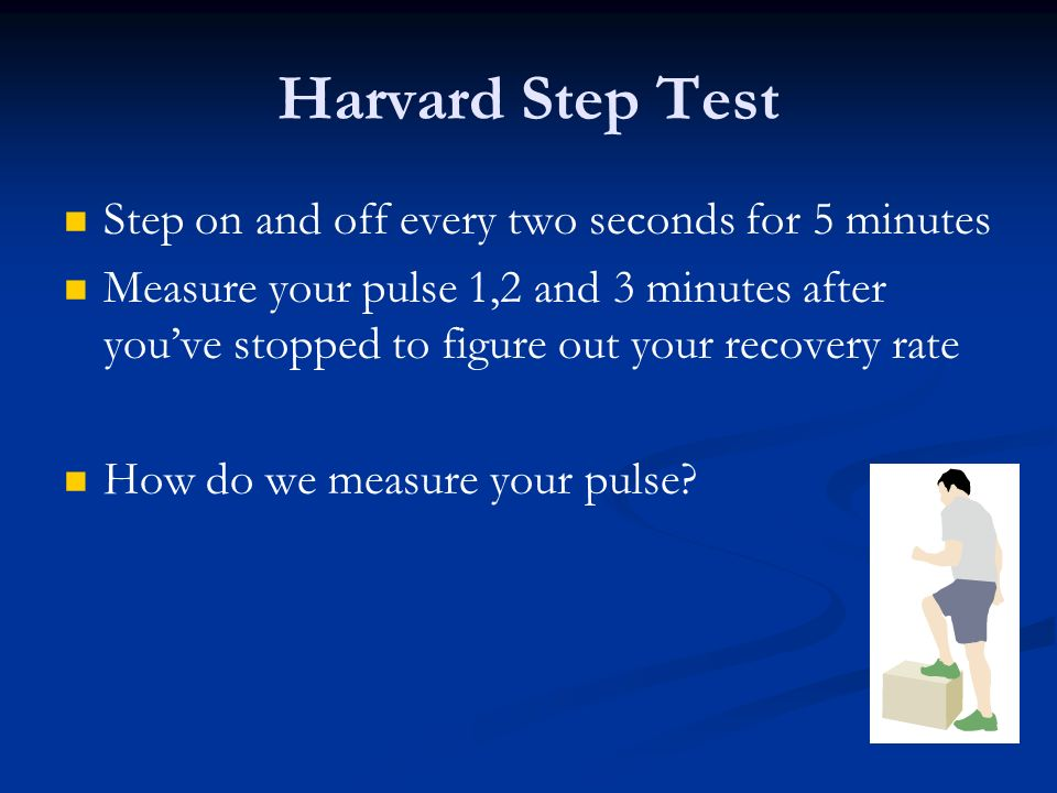Harvard Step Test Step on and off every two seconds for 5 minutes
