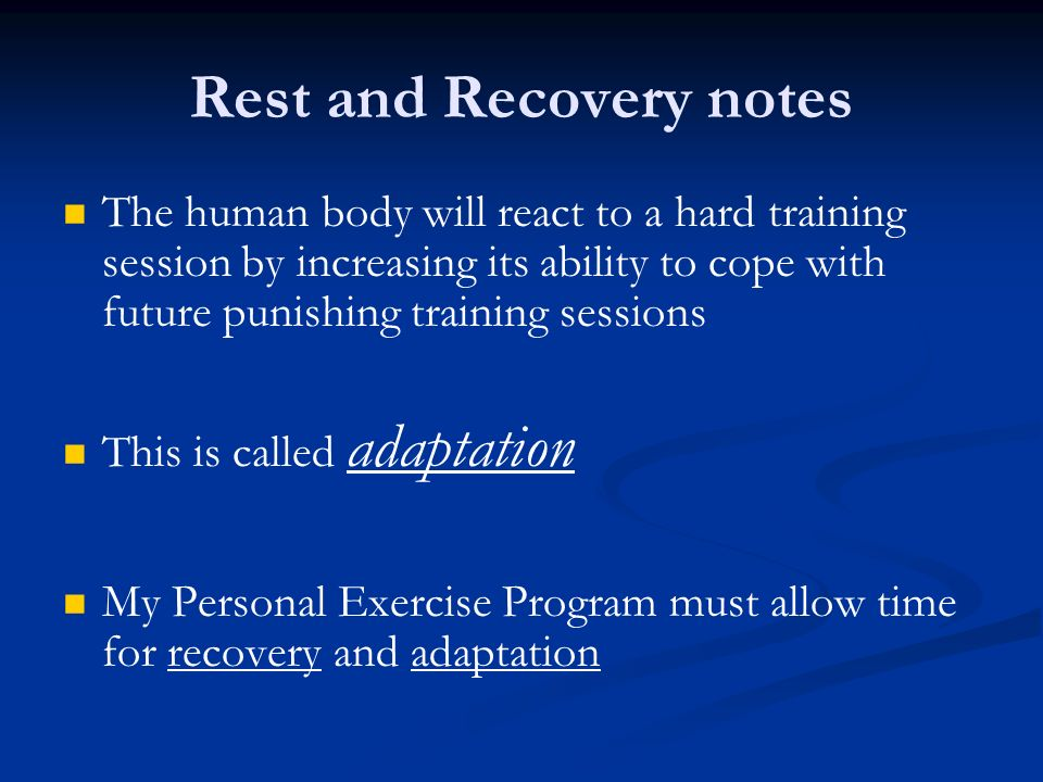 Rest and Recovery notes