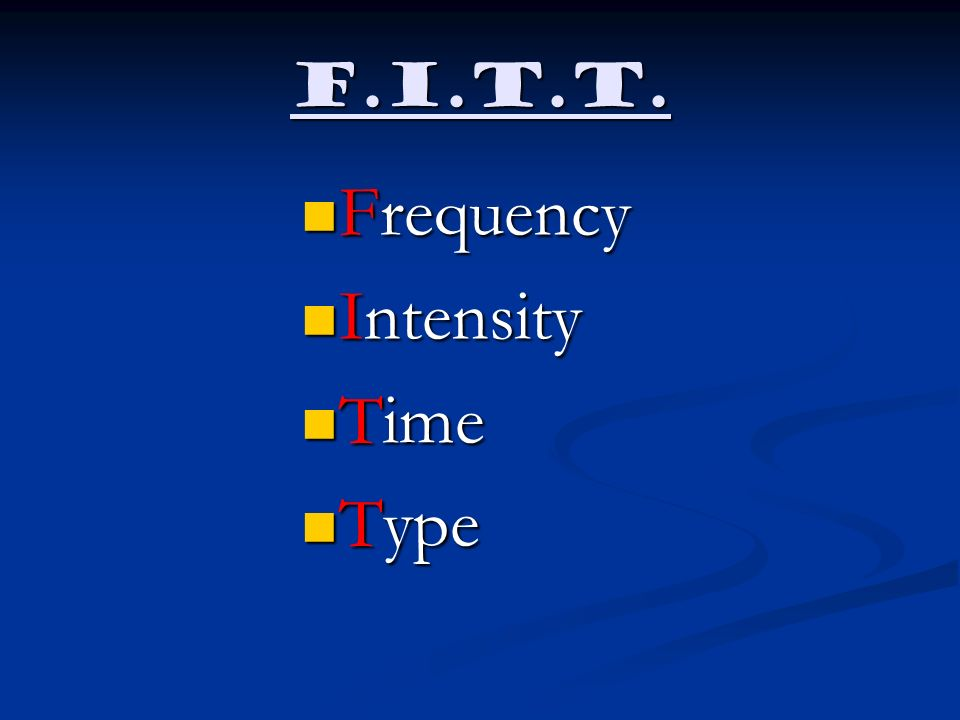 F.I.T.T. Frequency Intensity Time Type
