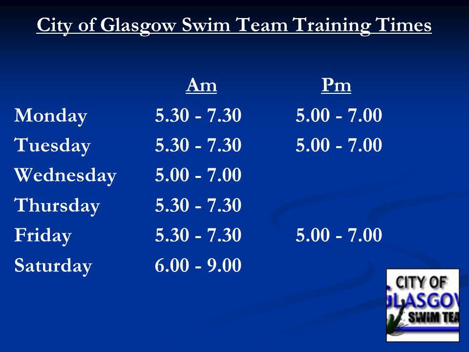 City of Glasgow Swim Team Training Times