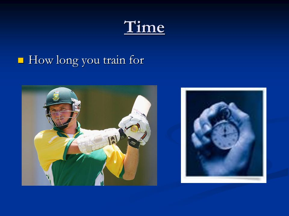 Time How long you train for