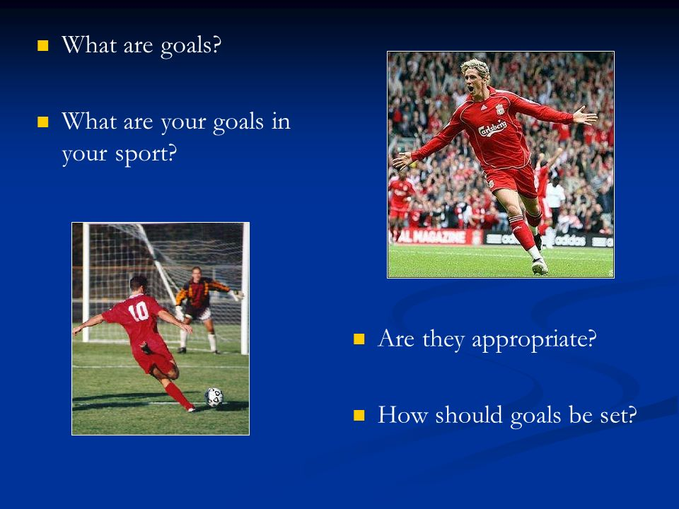 What are goals What are your goals in your sport Are they appropriate How should goals be set