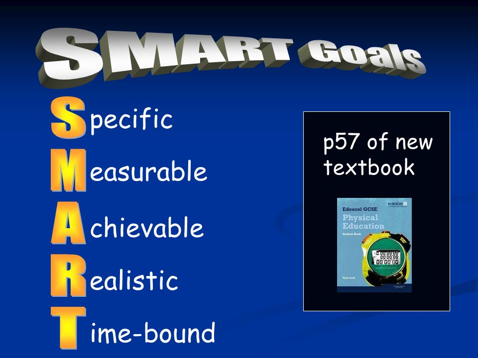 pecific easurable chievable ealistic ime-bound SMART Goals S M A R T