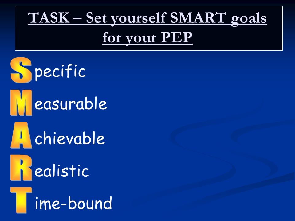 TASK – Set yourself SMART goals for your PEP