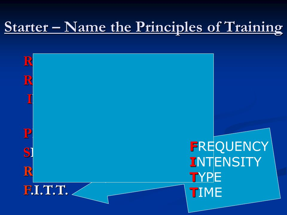 Starter – Name the Principles of Training