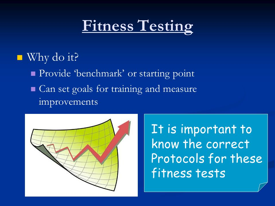 Fitness Testing Why do it It is important to know the correct