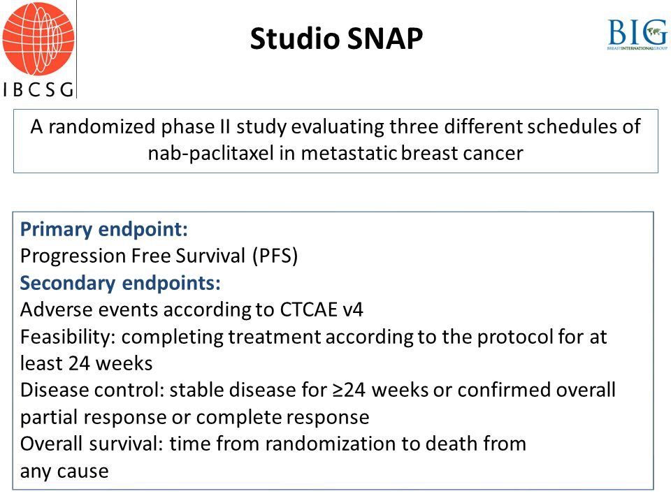 Studio SNAP A randomized phase II study evaluating three different schedules of nab-paclitaxel in metastatic breast cancer.