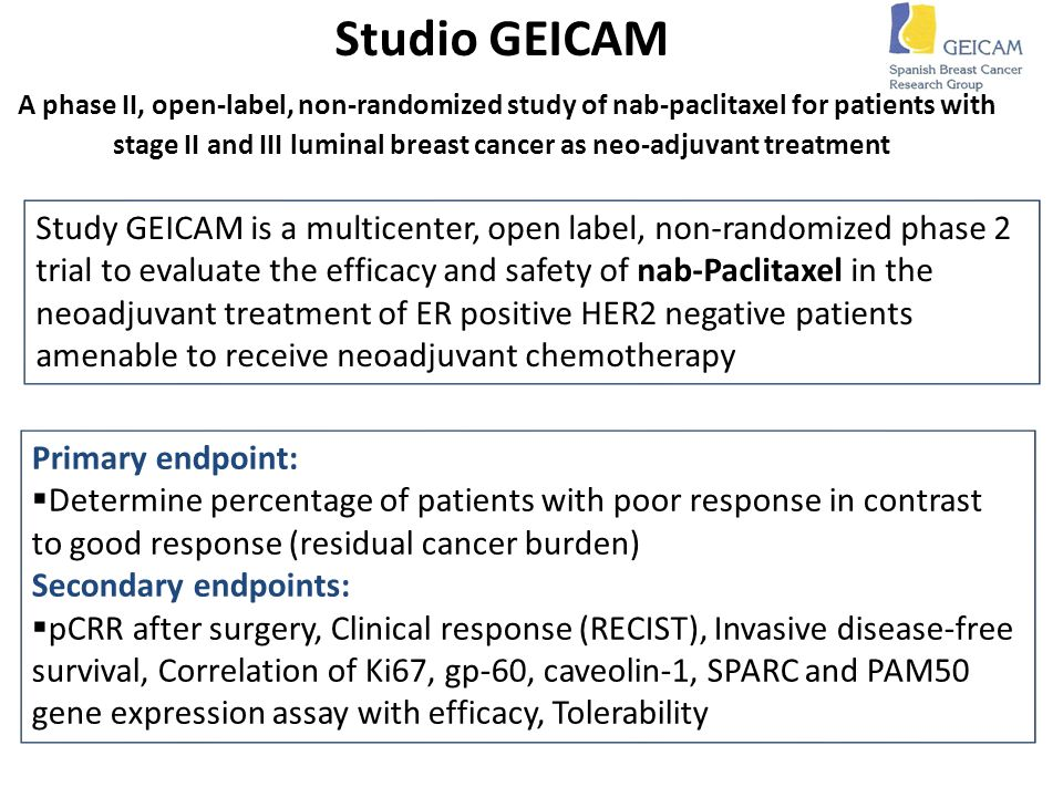 Studio GEICAM A phase II, open-label, non-randomized study of nab-paclitaxel for patients with stage II and III luminal breast cancer as neo-adjuvant treatment