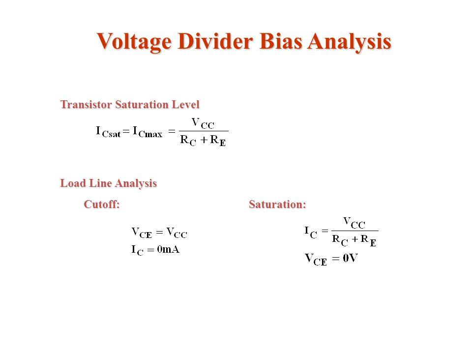 Voltage Divider Bias Analysis