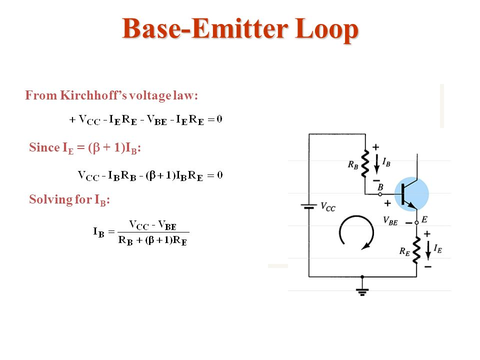 Base-Emitter Loop From Kirchhoff's voltage law: Since IE = (b + 1)IB: