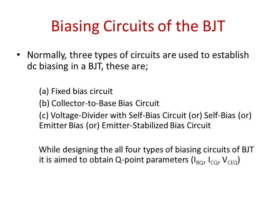 Biasing Circuits of the BJT