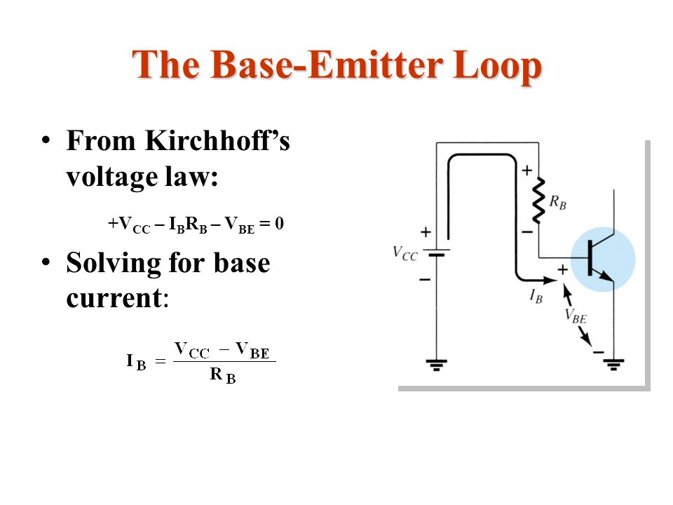 The Base-Emitter Loop From Kirchhoff's voltage law: