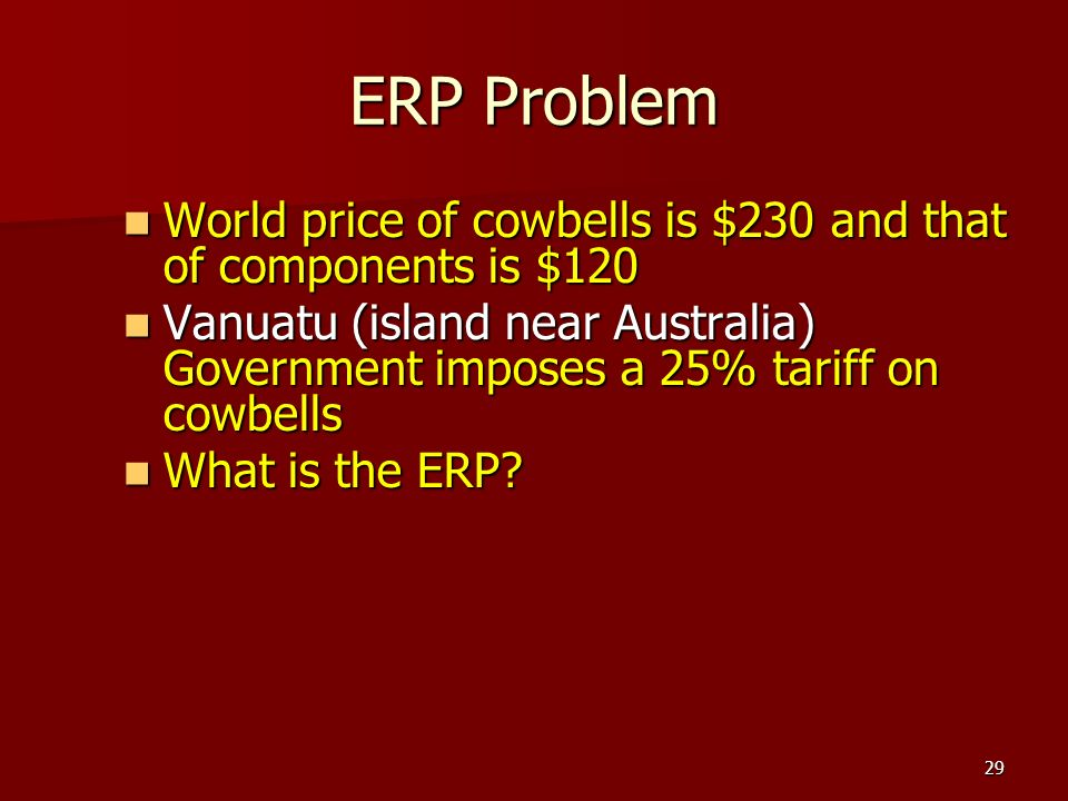 ERP Problem World price of cowbells is $230 and that of components is $120.