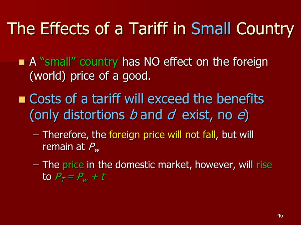 The Effects of a Tariff in Small Country