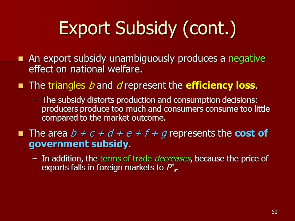 Export Subsidy (cont.) An export subsidy unambiguously produces a negative effect on national welfare.