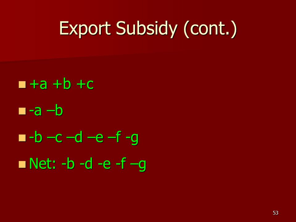 Export Subsidy (cont.) +a +b +c -a –b -b –c –d –e –f -g