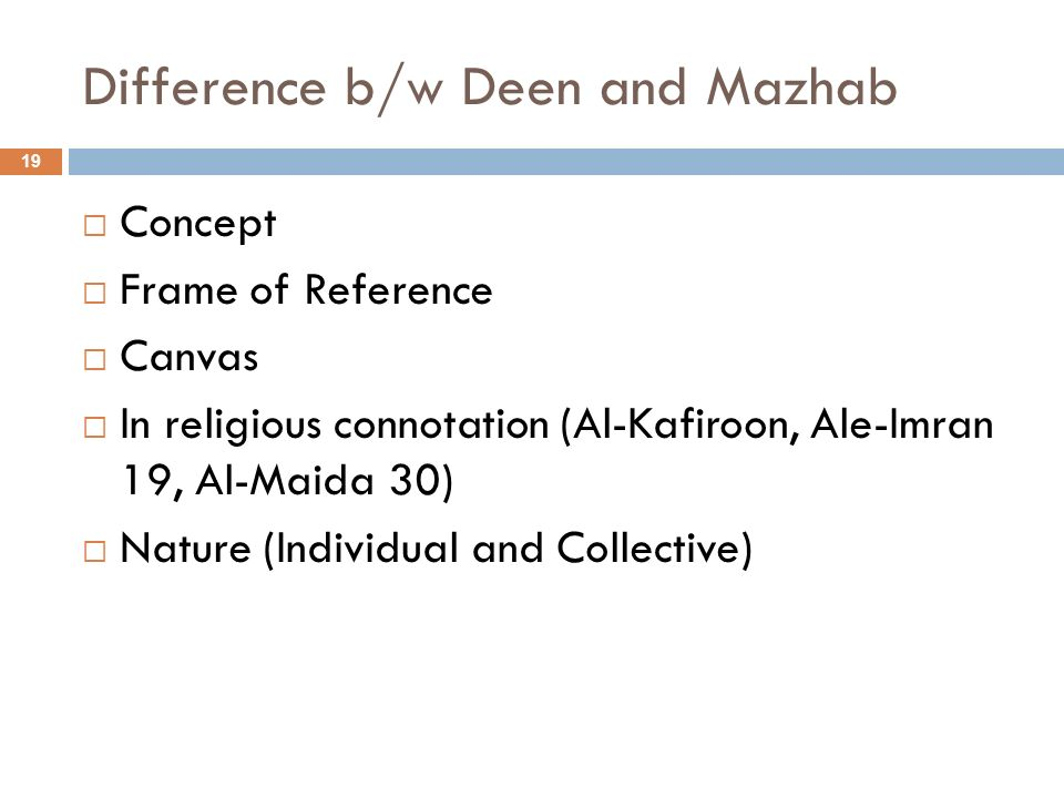 Difference b/w Deen and Mazhab