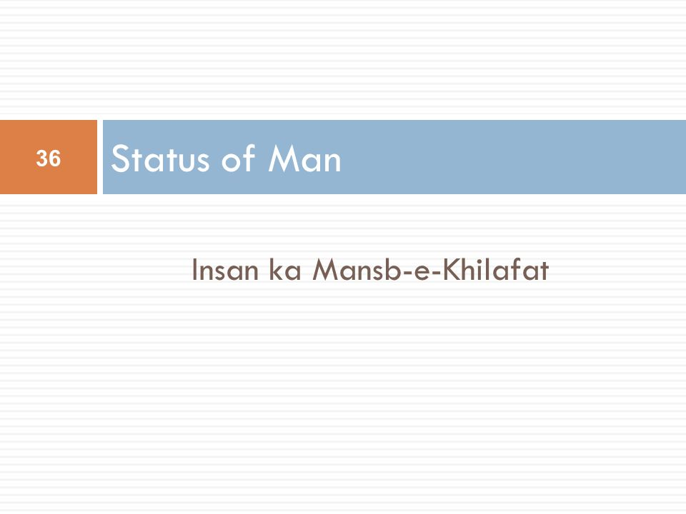 Insan ka Mansb-e-Khilafat
