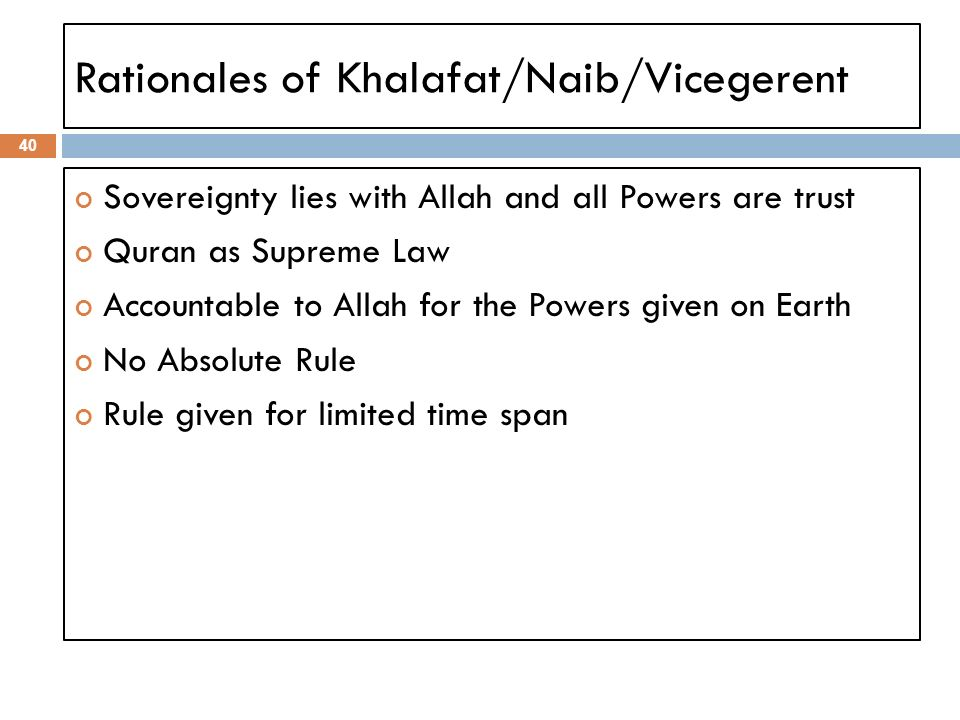 Rationales of Khalafat/Naib/Vicegerent