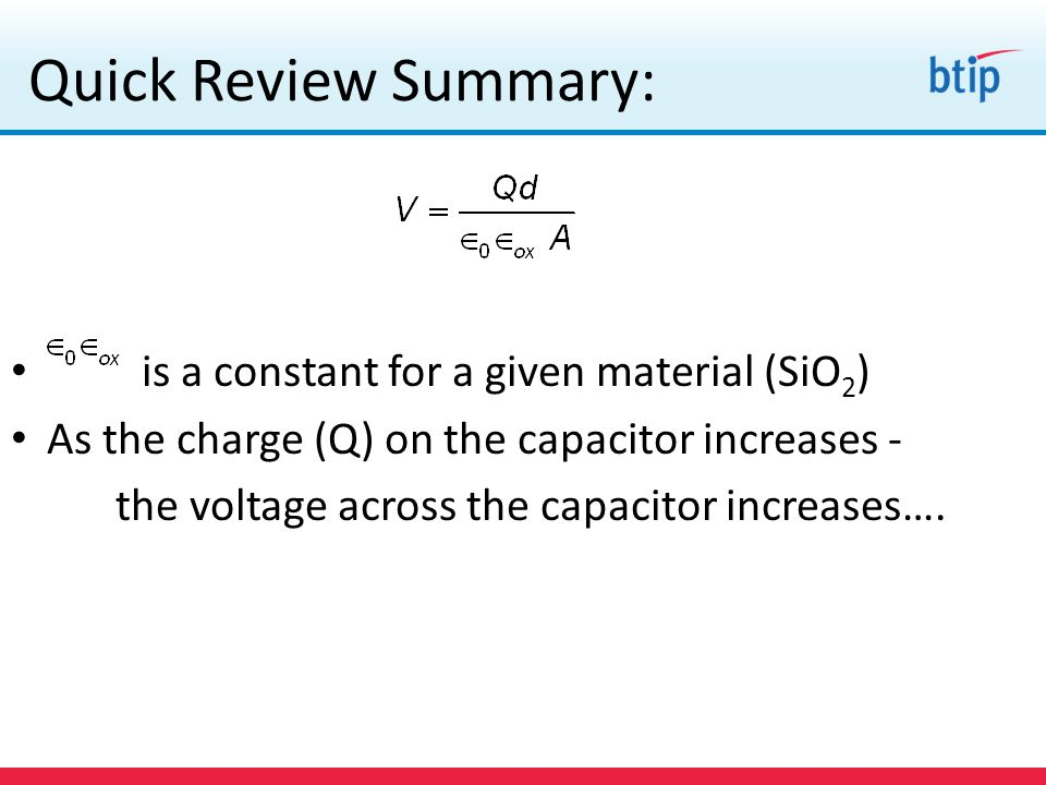 Quick Review Summary: is a constant for a given material (SiO2)