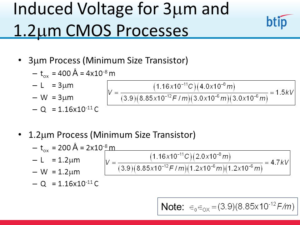 Induced Voltage for 3m and 1.2m CMOS Processes