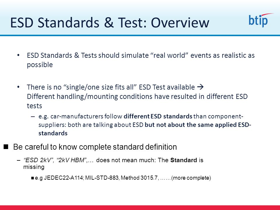 ESD Standards & Test: Overview