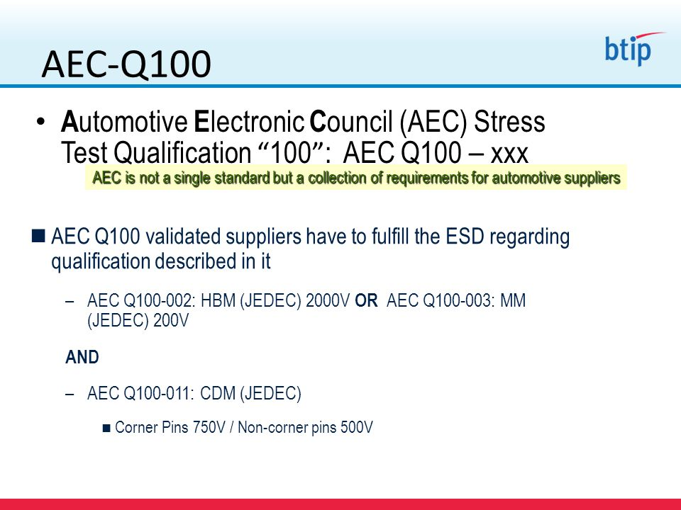 AEC-Q100 Automotive Electronic Council (AEC) Stress Test Qualification 100 : AEC Q100 – xxx.