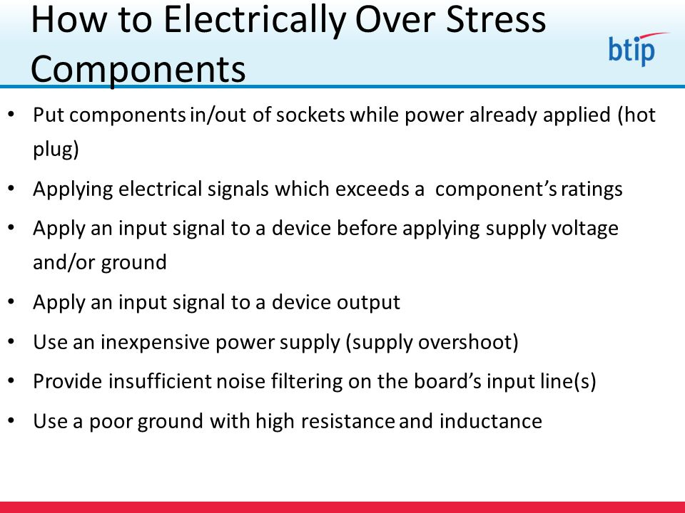 How to Electrically Over Stress Components