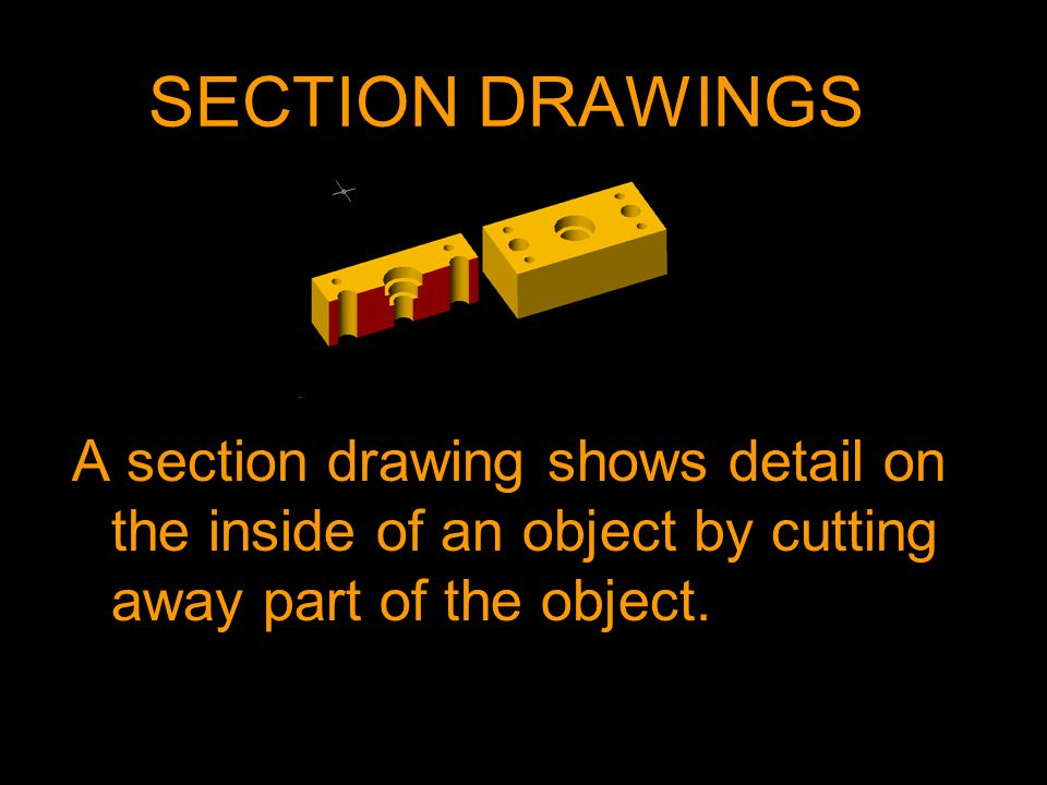 SECTION DRAWINGSA section drawing shows detail on the inside of an object by cutting away part of the object.