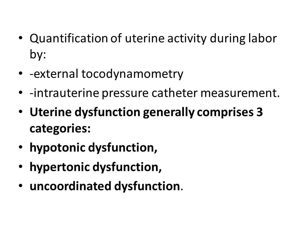 Quantification of uterine activity during labor by: