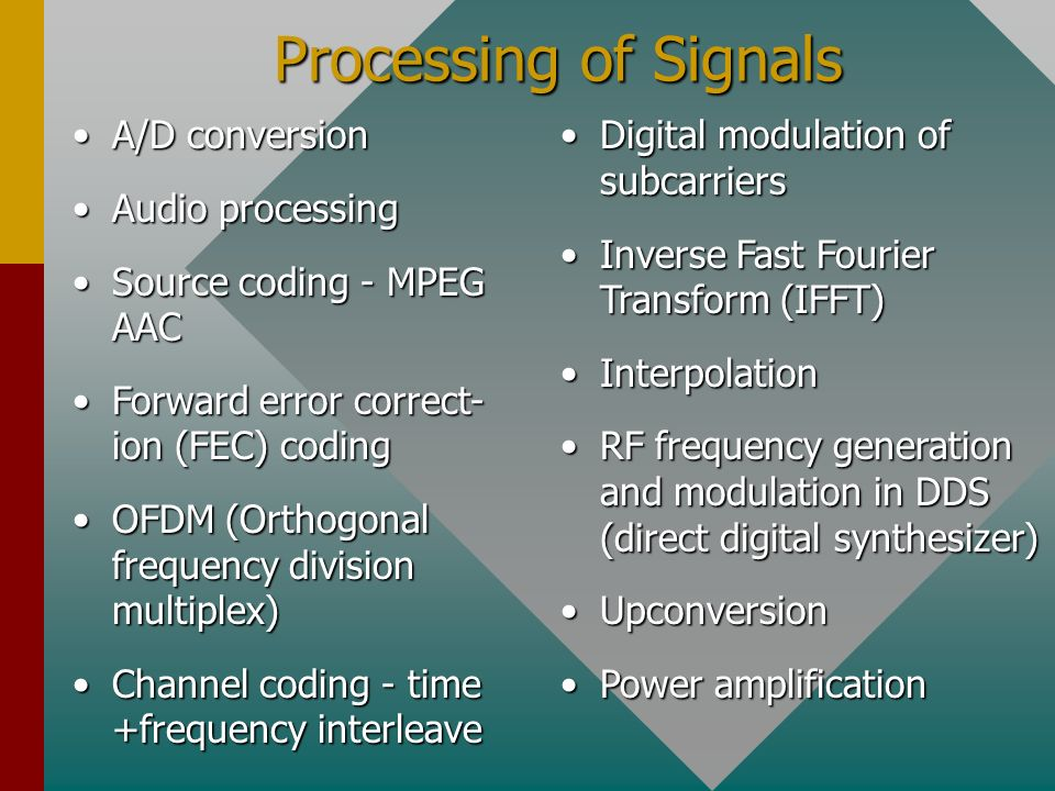 Processing of Signals A/D conversion Audio processing