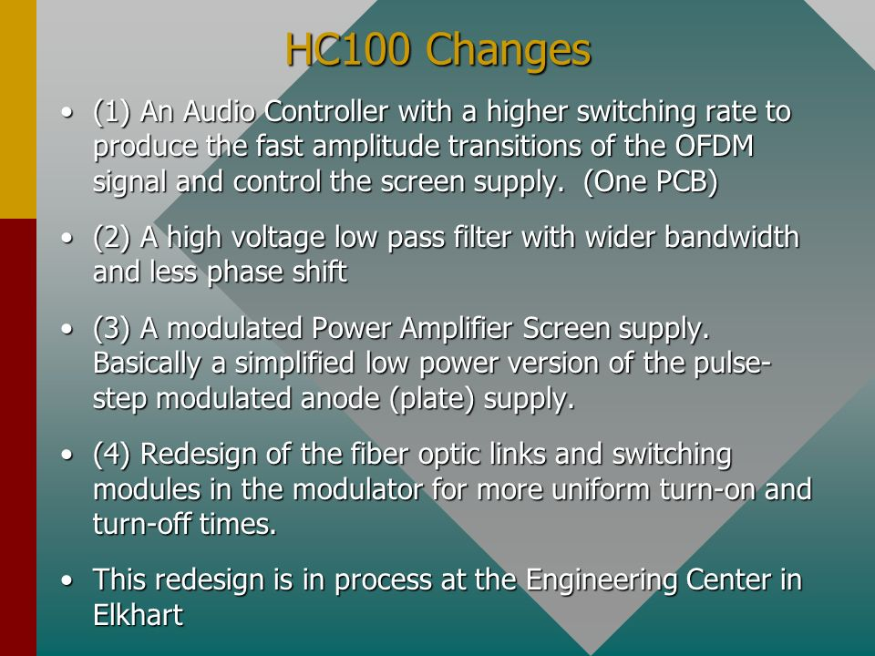 HC100 Changes
