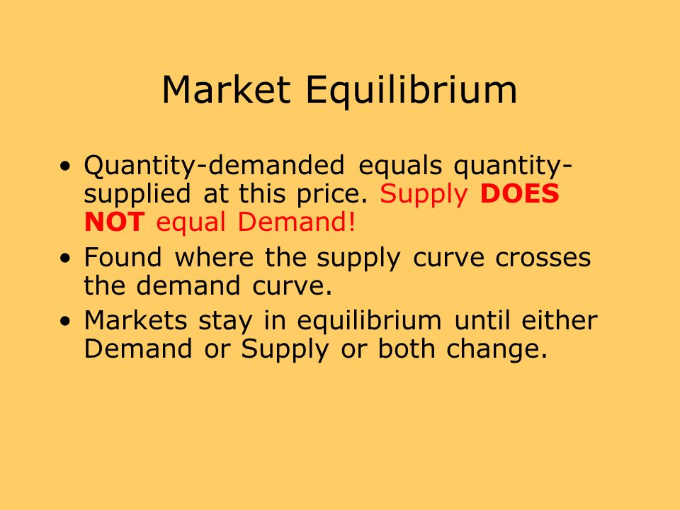 Market EquilibriumQuantity-demanded equals quantity-supplied at this price. Supply DOES NOT equal Demand!