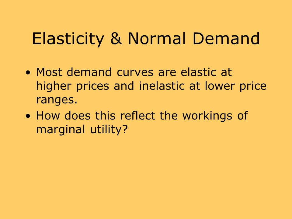 Elasticity & Normal Demand