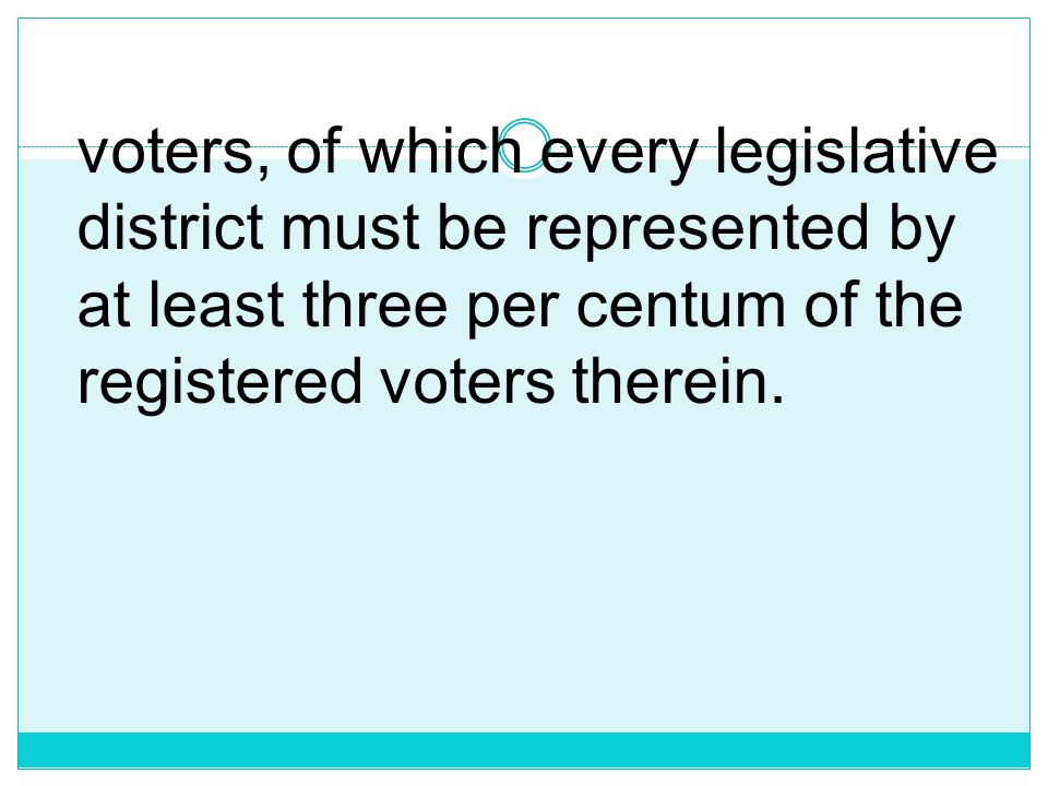 voters, of which every legislative district must be represented by at least three per centum of the registered voters therein.