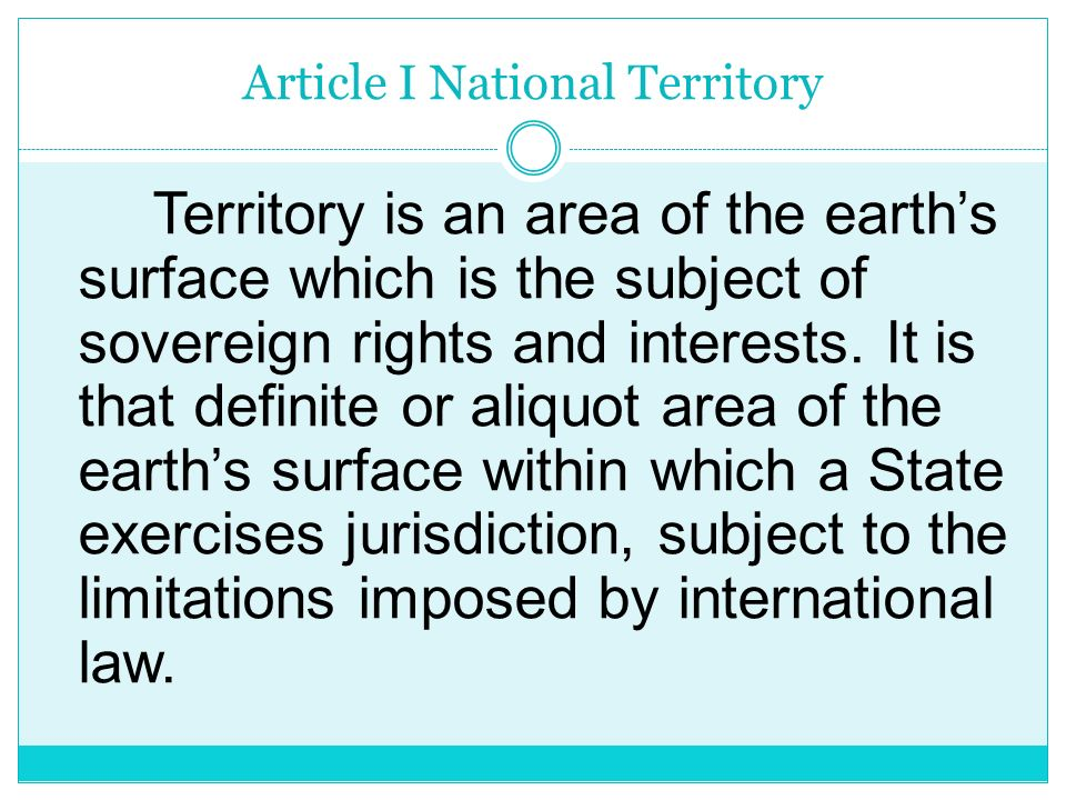 Article I National Territory