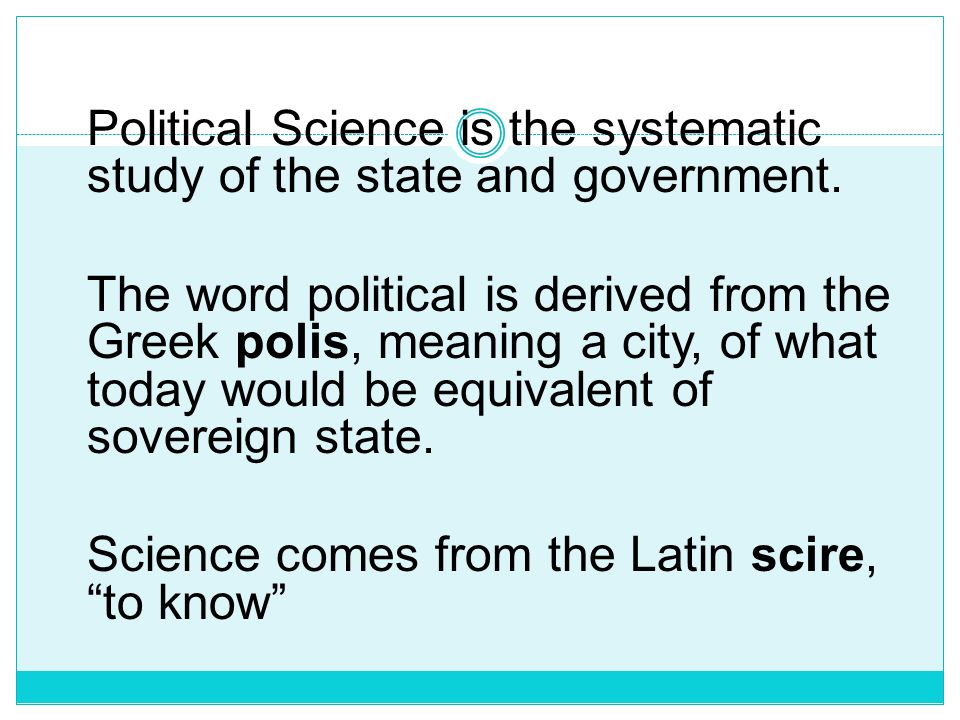 Science comes from the Latin scire, to know