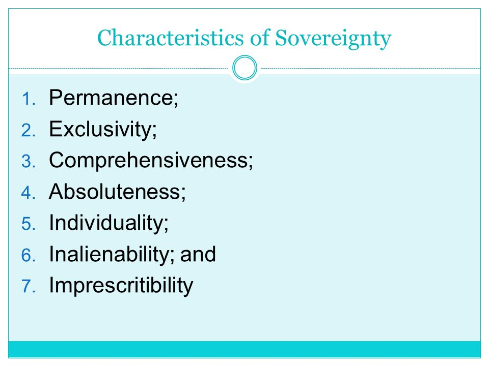 Characteristics of Sovereignty